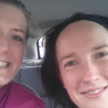 Me and Becky looking surprisingly cheery after a painful 13 miles! (I think we were just glad to sit down in the warm car!)