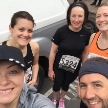 Amy, Abi, Becky, Chris and I at the start. Tom's not pictured as he wanted to get closer to the front!