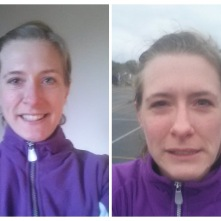 Left: At home before the match, all eager and looking forward to playing netball for the first time in a while. Right: After the match - cold, wet, defeated!